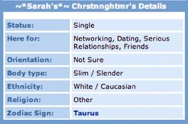 Sarah Chrstnnghtmr's MySpace Details