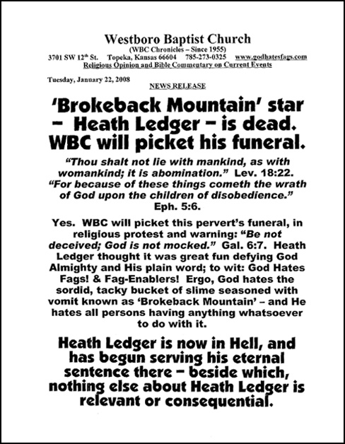 Westboro Baptist Church Press Release: Heath Ledger
