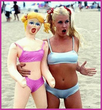 women with blow up doll